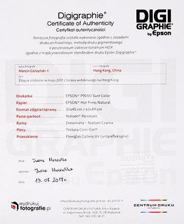 Certyfikat Epson Digigraphie ze specyfikacją wydruku